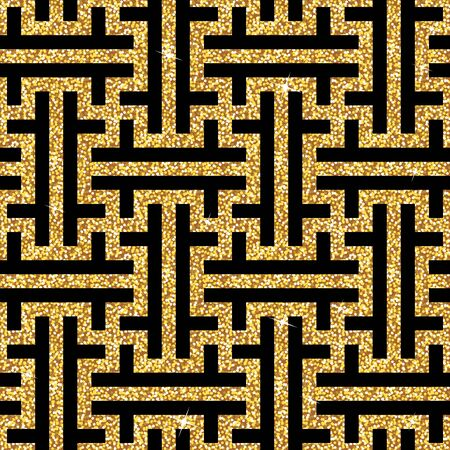 Seamless background from an oriental golden swastika ornament. Fashionable modern wallpaper or textile Illustration