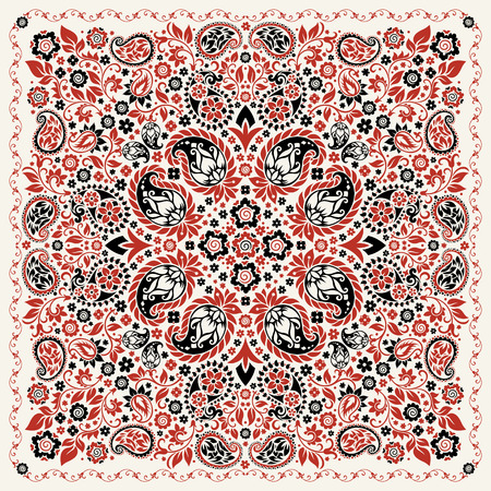 ornament paisley Bandana Print, silk neck scarf or kerchief square pattern design style for print on fabric.