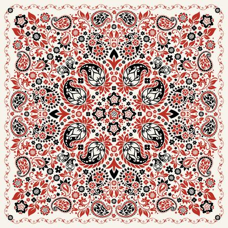 ornamento de Paisley del pañuelo de impresión, la seda de la bufanda de cuello o estilo de diseño patrón cuadrado pañuelo para la impresión sobre tela.