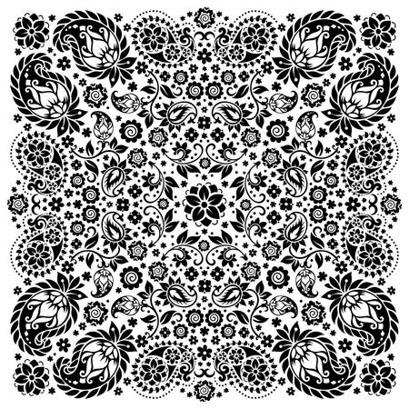 kerchief: ornament paisley Bandana Print, silk neck scarf or kerchief square pattern design style for print on fabric.