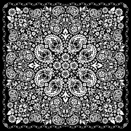 bronx: ornament paisley Bandana Print, silk neck scarf or kerchief square pattern design style for print on fabric.