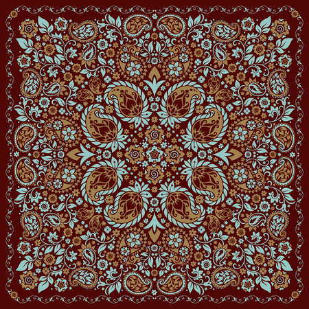 bandana western: ornament paisley Bandana Print, silk neck scarf or kerchief square pattern design style for print on fabric.