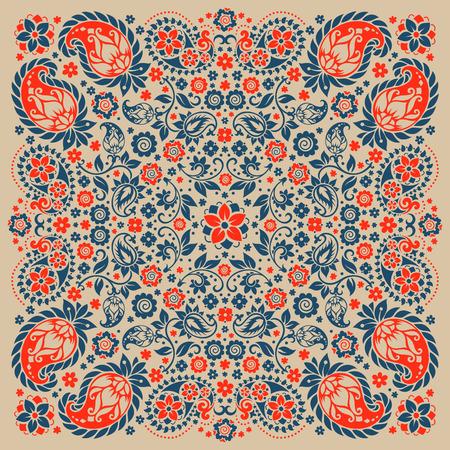 Ornamento del vector de Paisley del pañuelo de impresión, la seda de la bufanda de cuello o estilo de diseño patrón cuadrado pañuelo para la impresión sobre tela.