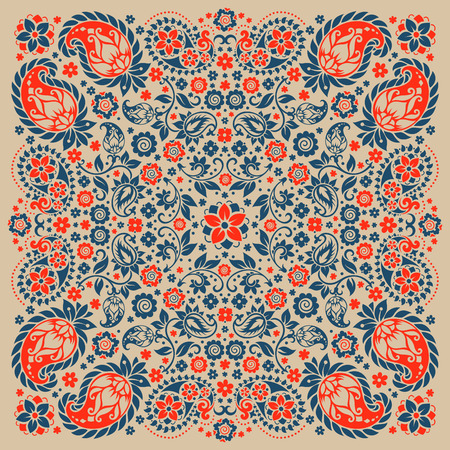Vector ornament paisley Bandana Print, silk neck scarf or kerchief square pattern design style for print on fabric. Ilustração