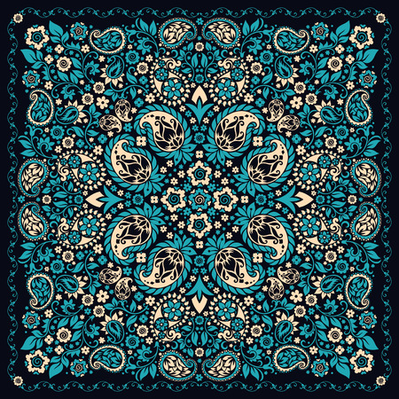 Vector ornament paisley Bandana Print, silk neck scarf or kerchief square pattern design style for print on fabric. Illusztráció