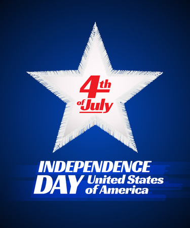 th: Independence day 4 th july card. Patriotic symbol holiday poster Illustration