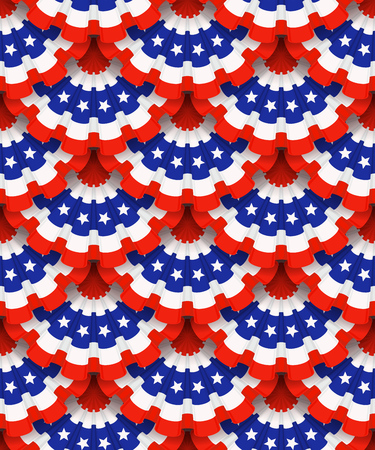 patriotic background: Holiday ribbon rosettes, seamless background. Blue, white and red colors. Design for advertising, leaflet, cards, invitation and so on. Illustration