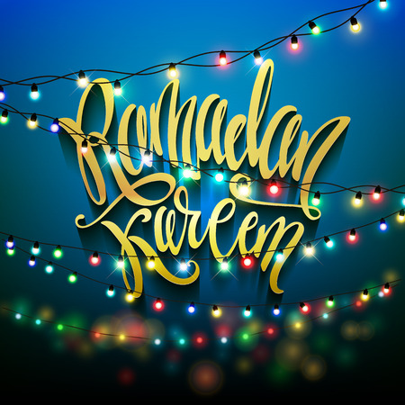 holiday illustration of shiny Ramadan Kareem label. lettering composition of muslim holy month