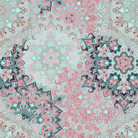 wallpaper floral: Boho style flower seamless pattern. Tiled mandala design, best for print fabric or papper and more. Illustration