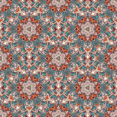 tiled: Boho style flower seamless pattern. Tiled mandala design, best for print fabric or papper and more. Illustration