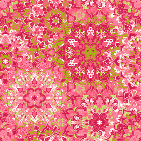 texture fantasy: Boho style flower seamless pattern. Tiled mandala design, best for print fabric or papper and more. Illustration