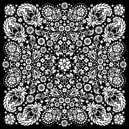 bandana western: Vector ornament paisley Bandana Print, silk neck scarf or kerchief square pattern design style for print on fabric. Illustration