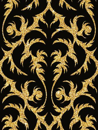 brightly: Seamless background from a floral golden ornament, Fashionable modern wallpaper or textile Illustration