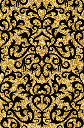 spangles: Seamless background from a floral golden ornament, Fashionable modern wallpaper or textile Illustration