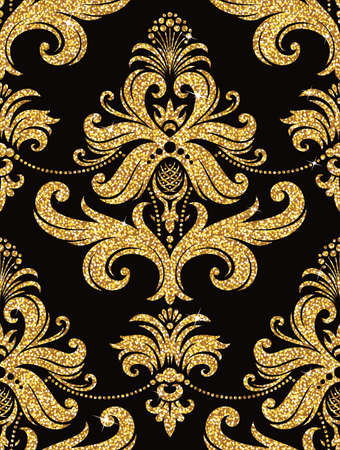 glisten: Seamless background from a floral golden ornament, Fashionable modern wallpaper or textile Illustration