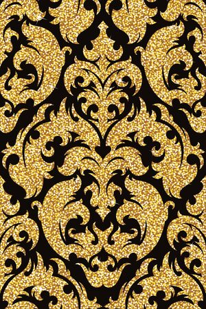 textile texture: Seamless background from a floral golden ornament, Fashionable modern wallpaper or textile Illustration