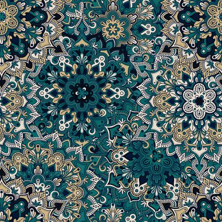seamless tile: Boho style flower seamless pattern. Tiled mandala design, best for print fabric or papper and more. Illustration