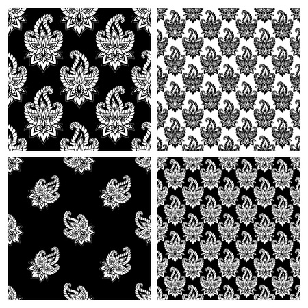 indian traditional: Seamless pattern set based on traditional Asian elements Paisley. Boho vintage style vector background. Best motive for print on fabric or papper.