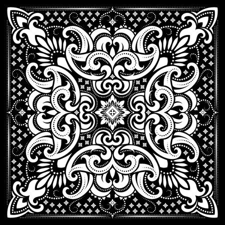 벡터 장식 페이 즐 리 두건 인쇄, 실크 목 스카프 또는 직물에 인쇄 스카프 사각형 패턴 디자인 스타일. 벡터 (일러스트)