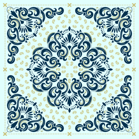 neck scarf: Vector ornament paisley Bandana Print, silk neck scarf or kerchief square pattern design style for print on fabric. Illustration