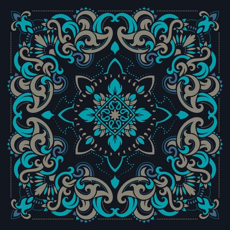 headscarf: Vector ornament paisley Bandana Print, silk neck scarf or kerchief square pattern design style for print on fabric. Illustration