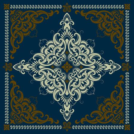 ベクター飾りペイズリー バンダナ プリント、シルク生地の印刷用スタイル「首スカーフやハンカチ正方形のパターン デザイン。