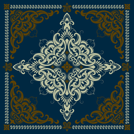 Vector ornament paisley Bandana Print, silk neck scarf or kerchief square pattern design style for print on fabric. Иллюстрация
