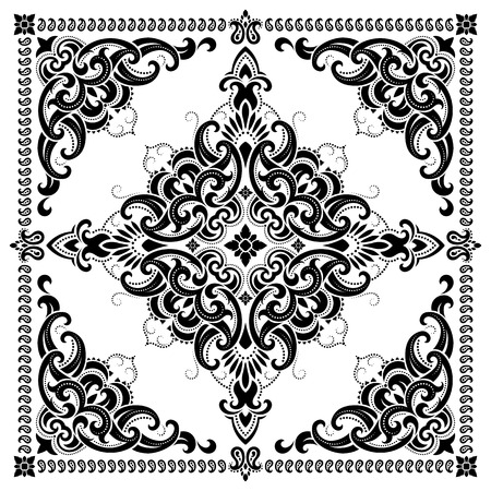 Vector ornament paisley Bandana Print, silk neck scarf or kerchief square pattern design style for print on fabric. Vectores