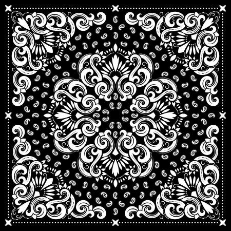 Vector Ornament Paisley Bandana-Druck, Seidenhalstuch oder Tuch quadratische Muster-Design-Stil für den Druck auf Stoff.