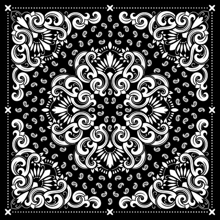 Vector ornament paisley Bandana Print, silk neck scarf or kerchief square pattern design style for print on fabric. Vettoriali