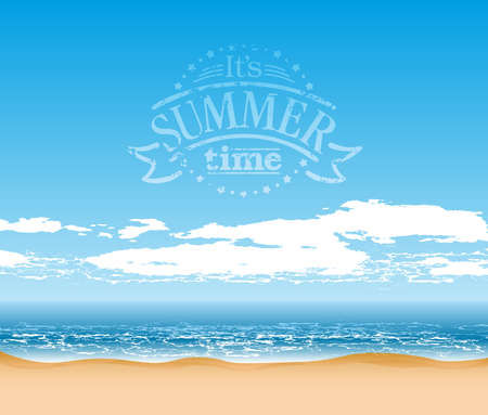 flair: Sea coast background with text composition - summer time Illustration