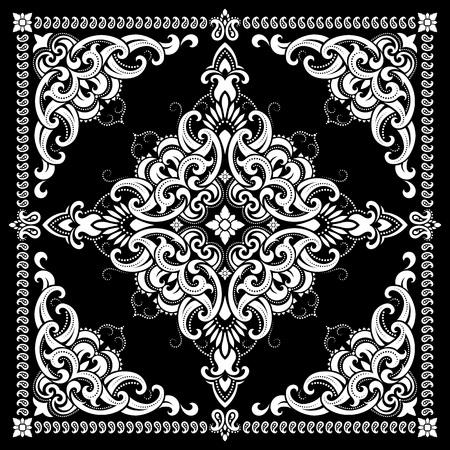 kerchief: Vector ornament paisley Bandana Print, silk neck scarf or kerchief square pattern design style for print on fabric. Illustration