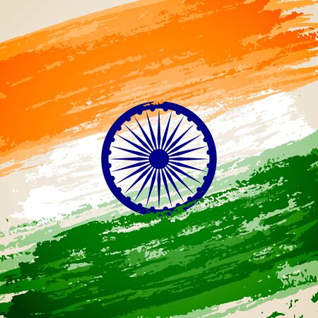 hind: illustration of grungy Indian Flag for Indian Independence Day