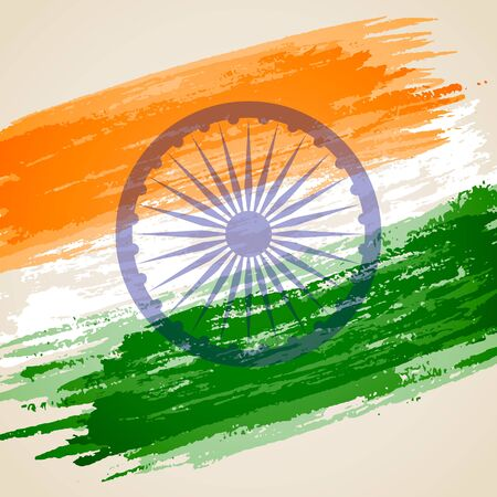 asoka: illustration of grungy Indian Flag for Indian Independence Day