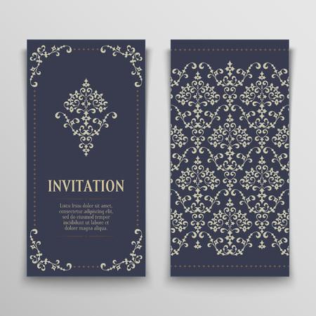 set van antieke wenskaarten, uitnodiging met Victoriaanse ornamenten, mooie, luxe ansichtkaarten