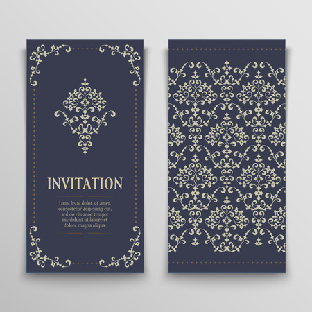 set of antique greeting cards, invitation with victorian ornaments, beautiful, luxury postcards Illustration