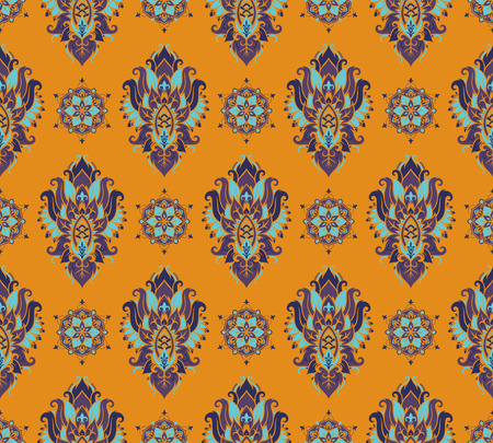 arabesque pattern: Seamless pattern based on traditional Asian elements Paisley. Boho vintage style vector background. Best motive for print on fabric or papper.