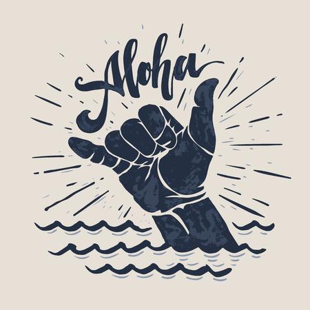 Surf Handzeichen. Vektorgrafik