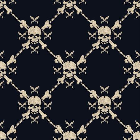 spook: seamless pattern pirate skulls