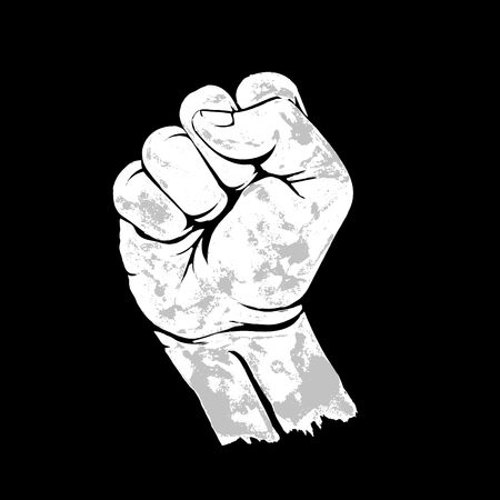 Raised up clenched fist