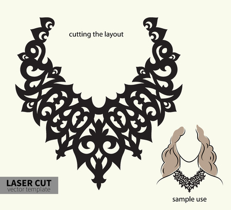 Vector laser cutting necklace. Banco de Imagens - 80559439
