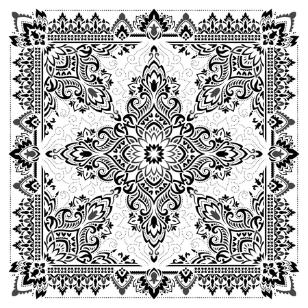 Paisley Bandana print in black and white colors