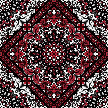 handkerchief: Paisley Bandana print Illustration