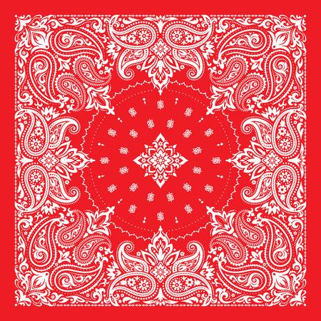 Bandana Print, silk neck scarf or kerchief square pattern design
