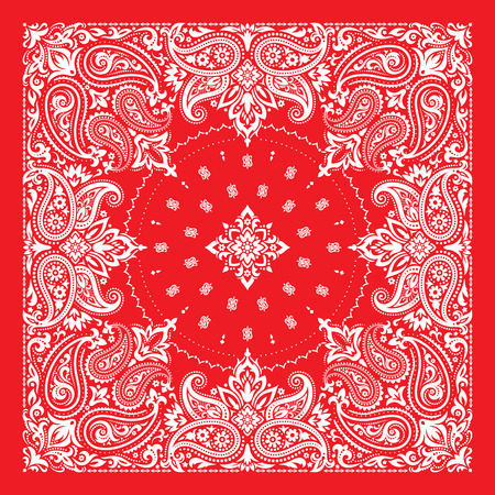 Bandana Print, silk neck scarf or kerchief square pattern design