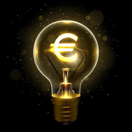 유로 달러 기호로 현실적인 램프 일러스트