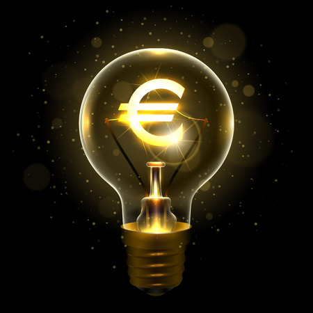 Realistic lamp with the euro dollar sign Illustration