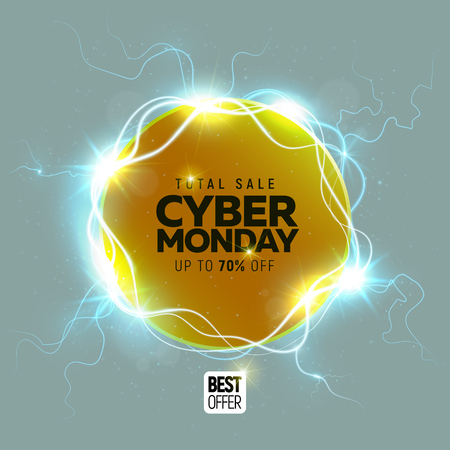 Cyber Monday sale banner over gray background vector illustration