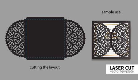 Vector laser cutting card design Illustration