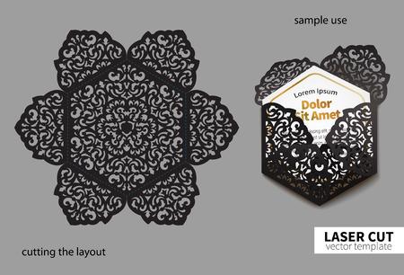 レーザー切断のためのデジタル ベクトル ファイル。渦巻き模様の華やかな結婚式招待状の封筒。  イラスト・ベクター素材